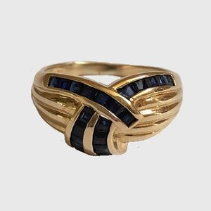 14K Yellow Gold Blue Sapphire Dome Band Ring